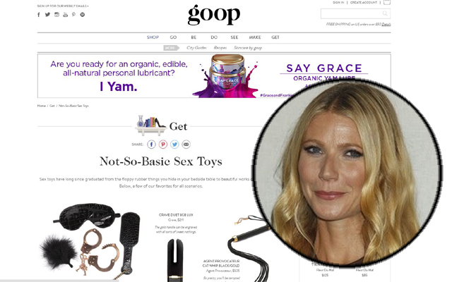 Gwyneth Paltrow site showcases Pipedream and Jimmyjane sex toys