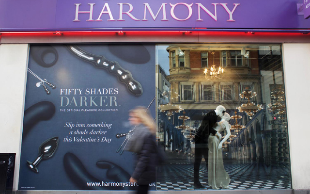 Darker window display results in increased footfall at Harmony