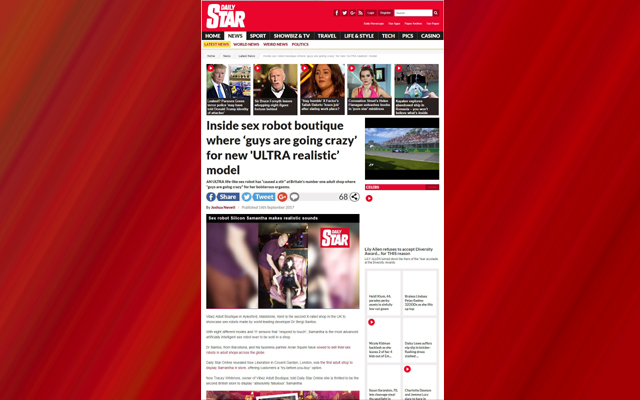 Swinging on a Star: Vibez featured in UK tabloid sexbot story