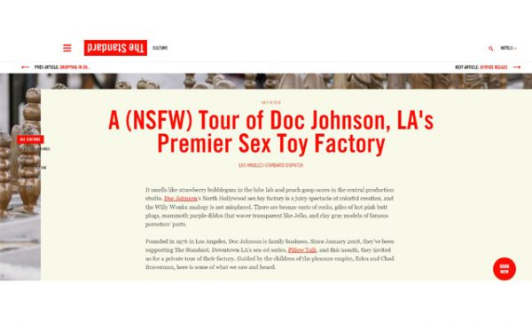 Doc Johnson hosts press tour with The Standard, Downtown LA and Pillow Talk event series