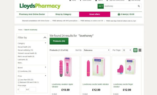 Lovehoney toys now available from Lloyds Pharmacy